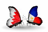 Two Butterflies With Flags On Wings As Symbol Of Relations Bahrain And Philippines