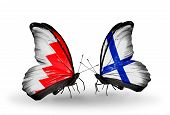 Two Butterflies With Flags On Wings As Symbol Of Relations Bahrain And Finland