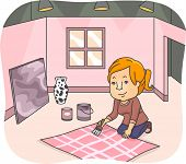Illustration of a Female Set Designer Working on a New Set Background