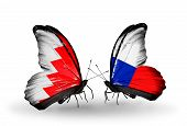 Two Butterflies With Flags On Wings As Symbol Of Relations Bahrain And Czech