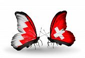 Two Butterflies With Flags On Wings As Symbol Of Relations Bahrain And Switzerland