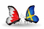 Two Butterflies With Flags On Wings As Symbol Of Relations Bahrain And Sweden