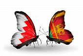 Two Butterflies With Flags On Wings As Symbol Of Relations Bahrain And Sri Lanka