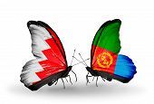 Two Butterflies With Flags On Wings As Symbol Of Relations Bahrain And Eritrea