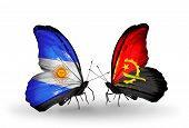 Two Butterflies With Flags On Wings As Symbol Of Relations Argentina And Angola