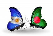 Two Butterflies With Flags On Wings As Symbol Of Relations Argentina And Bangladesh