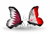 Two Butterflies With Flags On Wings As Symbol Of Relations Qatar And Malta