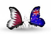 Two Butterflies With Flags On Wings As Symbol Of Relations Qatar And New Zealand