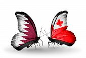 Two Butterflies With Flags On Wings As Symbol Of Relations Qatar And Tonga