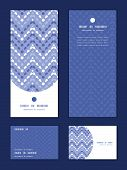 Vector purple drops chevron vertical frame pattern invitation greeting, RSVP and thank you cards set