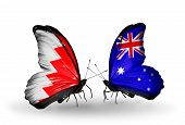 Two Butterflies With Flags On Wings As Symbol Of Relations Bahrain And  Australia