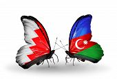 Two Butterflies With Flags On Wings As Symbol Of Relations Bahrain And Azerbaijan