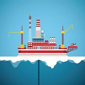 Vector Concept Of Arctic Oil And Gas Offshore Industry