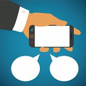 Vector Illustration Of Smartphone In Human Hand With Two Speech Bubbles