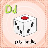 Illustration of an alphabet d is for dice