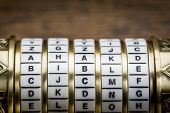 bible word as a password to combination puzzle box with rings of letters
