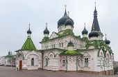 Pokrovsky Monastery, Orthodox Cathedral with a green roof and black domes. Capital of Ukraine - Kyiv