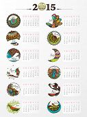 Creative annual calendar of New Year 2015 on shiny grey background.