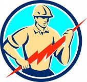 image of lightning  - Illustration of an electrician construction worker holding a lightning bolt viewed from the front set inside circle done in retro style on isolated background - JPG