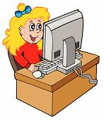 Cartoon girl working with computer
