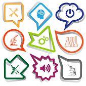 Tehnology set. Paper stickers. Vector illustration.