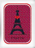 Black Eiffel tower, with red heart
