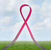 picture of mammogram  - Breast cancer ribbon road concept as a health care symbol of the path of awareness hope and support for the survivors of the disease - JPG