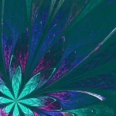 Beautiful Fractal Flower In Green And Blue On Green Background. Computer Generated Graphics.