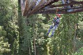 Training elevation work on the old railway bridge over the da