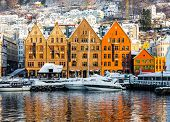 Bergen, Norway - December 27, 2014: Famous Bryggen and old houses in the center of Bergen at Christmas, Norway