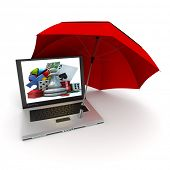 3D rendering of a laptop with games symbols on the screen, protected by an umbrella