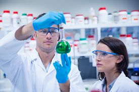 picture of beaker  - Chemist team looking beaker of green chemical in the laboratory - JPG