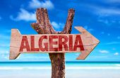 picture of algiers  - Algeria wooden sign with ocean background - JPG