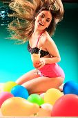stock photo of hair motion  - Vacation party and fun cocncept - JPG