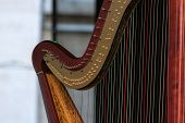 stock photo of musical instrument string  - A symphony musical instrument called harp details - JPG