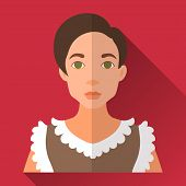 picture of woman red blouse  - Red flat style square shaped female character icon with shadow - JPG