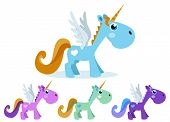 stock photo of winged-horse  - Cute unicorn winged colorful and color options - JPG