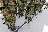 stock photo of army soldier  - Japanese army parade  - JPG