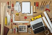pic of workbench  - Blank project on a clipboard with DIY tools all around on a work table top view - JPG