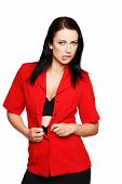 stock photo of seduction  - Sexy brunette woman take off red formal suit bite lips seduction - JPG