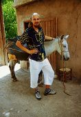 foto of donkey  - Man with moroccan donkeys on travel in Morocco - JPG