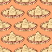 pic of sombrero  - Sketch mexican sombrero in vintage style vector seamless pattern - JPG