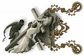 picture of crucifiction  - Victorian letter E with Jesus Christ enfeebled by the weight of the cross - JPG