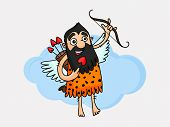 foto of bow arrow  - Cartoon of a caveman holding bow and heart shape arrow - JPG