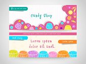 picture of candy  - Stylish website header or banner set decorated with colorful candies for candy shop - JPG