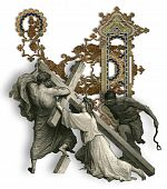 picture of crucifiction  - Victorian letter U with Jesus Christ enfeebled by the weight of the cross - JPG