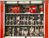 foto of fire brigade  - Rescue Equipment in Fire Engine - JPG