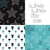 stock photo of twinkle  - Cute kids geometric dreams and night theme with twinkle stars and crosses seamless background pattern and lettering wall decor design in vector - JPG
