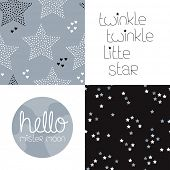 stock photo of twinkle  - Cute kids gender neutral dreams and night theme with twinkle stars seamless background pattern and lettering wall decor design in vector - JPG