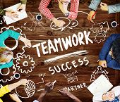 stock photo of collaboration  - Teamwork Team Collaboration Connection Togetherness Unity Concept - JPG